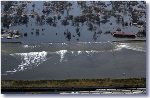 when the levees break That's because lake pontchartrain continues to pour through a two-block-long break in the main levee the levee failure appears to be causing a human tragedy.