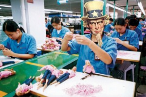 Uncle Sam working on a line in Chinese workshop