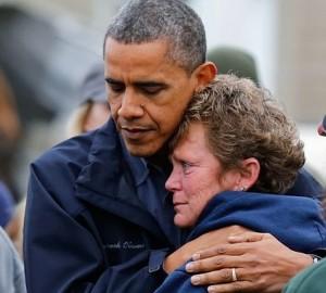Barack Comforts Lady