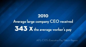 CEO Pay 343 times the average worker's pay.