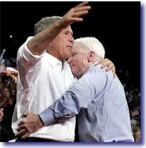 John McCain Hugs George W. Bush