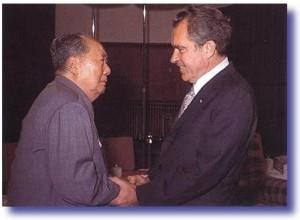 President Nixon greets Chairman Mao