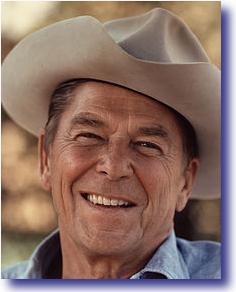 President Reagan wearing a cowboy hat