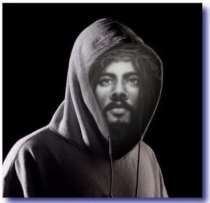 Black Jesus Wearing A Hoodie
